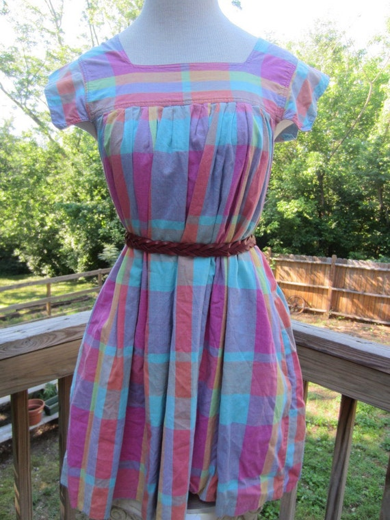 Vintage Madras Plaid Tent Summer Mini Dress Cap Sleeves