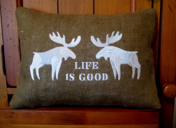 Moose Burlap Embroidered Pillow Cover 16 x 16