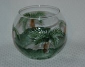 Palm Trees Hand Painted Glass Bowl