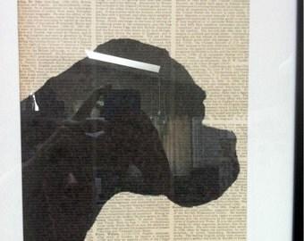 SALE - Boxer Silhouette on Vintage Encyclopedia Page