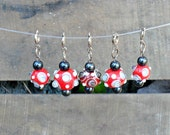 Snag Free Stitch Markers -- Set of 5 -- Red Dotted