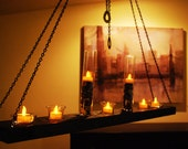 Wood & chain hanging candle holder chandelier