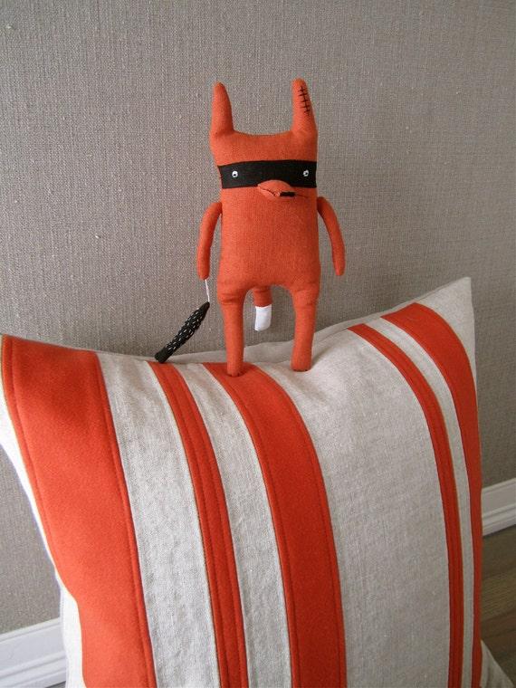 "Cashmere and Linen ""Patchwork"" Stripe Pillow- Tangerine Orange"