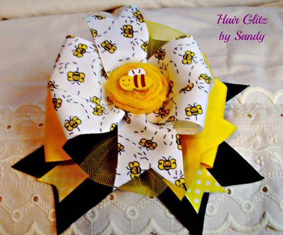Boutique Hair Bow Clip - Yellow and Black Honeybee - Childrens Hair Bow Clip - Alligator Clip