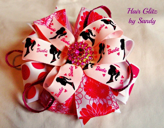 Boutique Hair Bow Clip - Barbie Sillohoute Ribbon - Pink Layered Bow