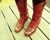 Vintage 70s-80s Leather Cowboy Boot