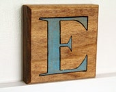 """Woodburned Block Letter """"E"""""""