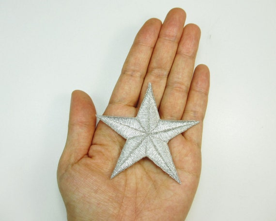 """1  Embroidered Iron On Applique Patch, 2 7/8"""" (7.3cm) - Silver Star"""