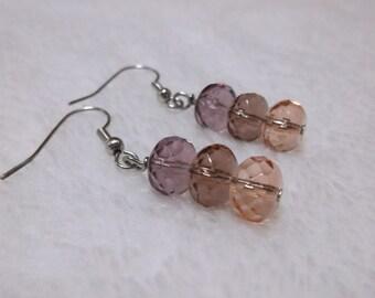 3 color rondelle earrings