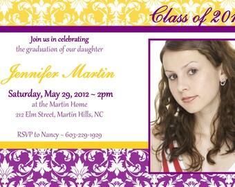 Custom Printable Graduation Party Invitation or Printable Graduation Announcement Photo Card in Yellow Purple Gold Damask