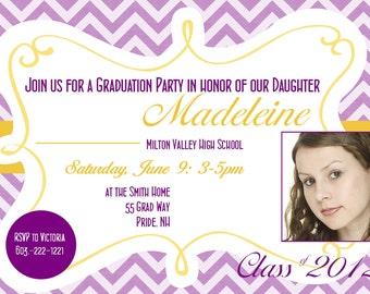 Custom Printable Graduation Party Invitation or Printable Graduation Announcement Photo Card in Purple and Gold Chevron