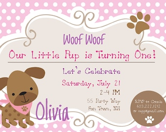 Dog Birthday Party Invitations Puppy Dog Party Invites 1st Birthday Girl First Birthday Invitations Polka Dots Pink Brown Photo Card ANY AGE