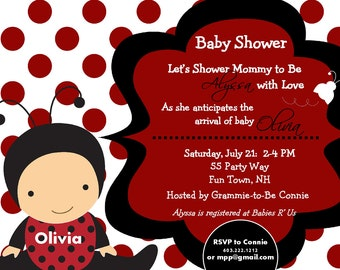 Ladybug Baby Shower Invitation Girl Invitation Ladybug Invitations Printable Invitation Polka Dots Printable Baby Shower Invitations Ladybug