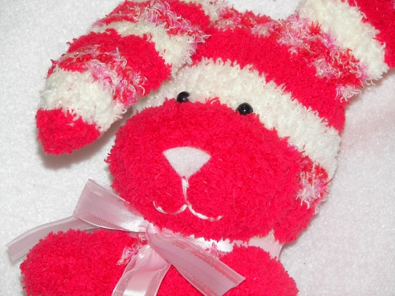 Plush Toy Sock Bunny Rabbit with Red, Pink, and White - One of a Kind (OOAK)