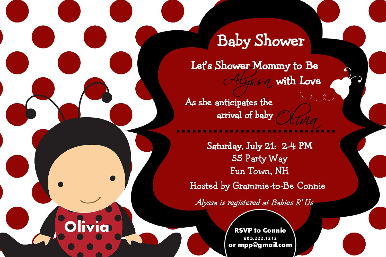 Baby Girl Shower Invitations Ladybug – diabetesmang.info