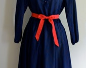 Vintage Navy and Red Striped Ribbon Sash Dress Large  - 1980s