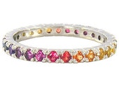 Multicolor Rainbow Sapphire Pave Set Ring 925 Sterling Silver : sku 1512-925