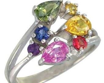 Multicolor Rainbow Sapphire Multicolor Fireworks Ring 18K White Gold (1.5ct tw) SKU: 1601-18K-Wg