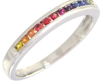 Multicolor Rainbow Sapphire Half Eternity Band Ring 18K White Gold : sku 890-18K-WG