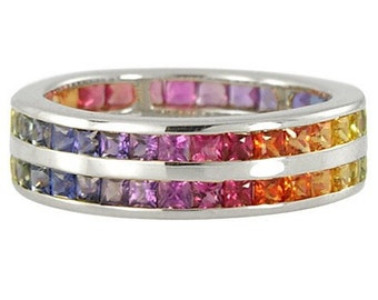 Multicolor Rainbow Sapphire Double Row Eternity Ring 14K White Gold (11ct tw): sku 459-14k-wg