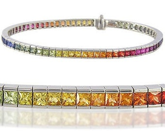 Multicolor Rainbow Sapphire Tennis Bracelet 18K White Gold (8ct tw) : sku BRC225-24-18k-wg
