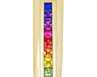 Multicolor Rainbow Sapphire Line Pendant 18K Yellow Gold (1.2ct tw) SKU: 390-18K-Yg