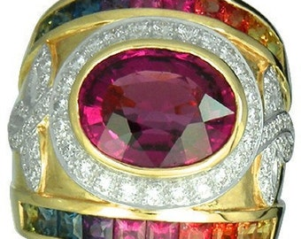 Multicolor Rainbow Sapphire & Tourmaline With Diamond Ring 18K Yellow Gold (6.87ct tw) SKU: 444-18K-Yg