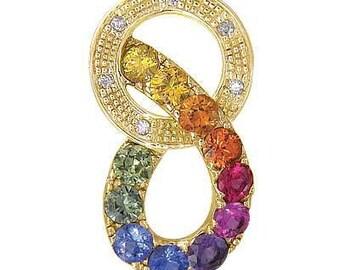 Multicolor Rainbow Sapphire & Diamond Round Friendship Pendant 14K Yellow Gold (1.28ctw) SKU: 1568-14K-Yg
