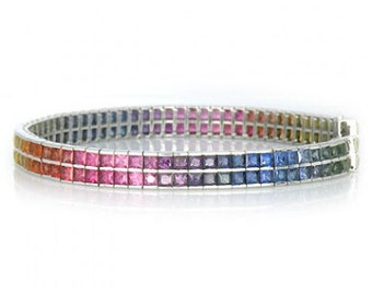 Multicolor Rainbow Sapphire Double Row Tennis Bracelet 14K White Gold (30ct tw) SKU: 1863-14K-Wg