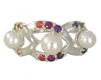 Multicolor Rainbow Sapphire & Pearl Antique Style Ring 925 Sterling Silver (1/2ct tw) SKU: 1464-925