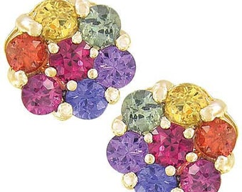 Multicolor Rainbow Sapphire Earrings Flower Cluster 14K Yellow Gold : sku 1617-14k-yg