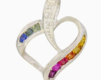 Multicolor Rainbow Sapphire & Diamond Heart Shape Pendant 14K White Gold (1/2ct tw) SKU: 1455-14K-Wg