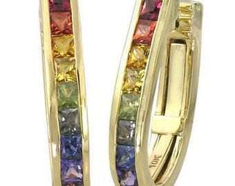 Multicolor Rainbow Sapphire Earrings J Hoop Huggie 18K Yellow Gold (2ct tw) SKU: 1557-18K-Yg