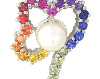 Multicolor Rainbow Sapphire & Pearl Heart Shape Pendant 925 Sterling Silver (3/4ct tw) : sku 1510 - 925