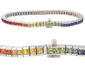 12ct Multicolor Rainbow Sapphire Tennis Bracelet 925 Sterling Silver  : sku 311-925