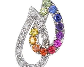 Multicolor Rainbow Sapphire & Diamond Teardrop Pendant 925 Sterling Silver  : sku 1566 - 925