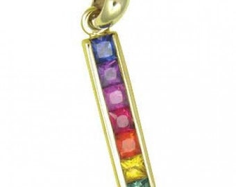 Multicolor Rainbow Sapphire Long Bar Pendant 18K White Gold (1.3ct tw) SKU: 540-18K-Yg