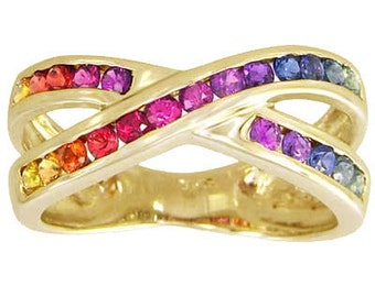 Multicolor Rainbow Sapphire Crossover Ring 14K Yellow Gold (1.2ct tw) : sku 470-14k-yg