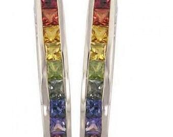 Multicolor Rainbow Sapphire Earrings J Hoop Huggie 14K White Gold (2ct tw) SKU: 1557-14K-Wg