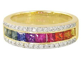 Multicolor Rainbow Sapphire & Diamond Channel Set Ring 14K Yellow Gold (2.3ct tw) : sku 1533-14k-yg