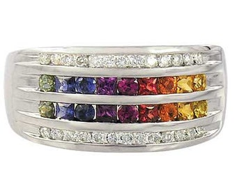 Multicolor Rainbow Sapphire & Diamond Multi Shape Band Ring 925 Sterling Silver : sku 1523-925