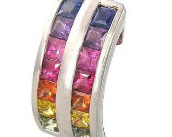 Multicolor Rainbow Sapphire Double Row Pendant 18K White Gold (2.3ct tw) SKU: 1504-14K-Wg