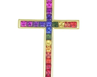 Multicolor Rainbow Sapphire Religious Crucifix Cross Pendant 14K Yellow Gold (5ct tw) : sku 438-14k-yg