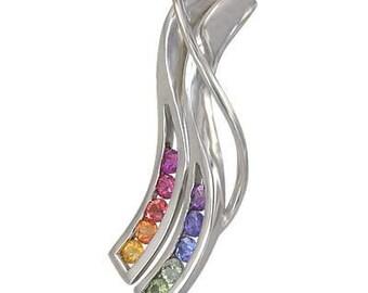 Multicolor Rainbow Sapphire Slide Pendant 18K White Gold : sku 1574-18K-WG