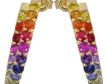 Multicolor Rainbow Sapphire Earrings Inside Outside 1 Inch Hoop 18K Yellow Gold (4ct tw) SKU: 1518-18K-Yg