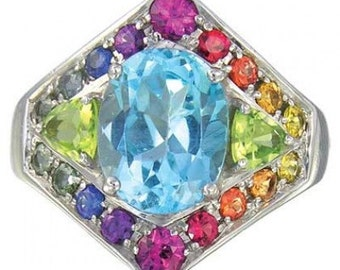 Multicolor Rainbow Sapphire, Blue Topaz and Peridot Fashion Ring 14K White Gold  : sku 1569-14K-WG