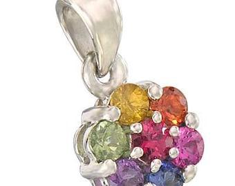 Multicolor Rainbow Sapphire Flower Cluster Pendant 18K White Gold : sku 1616-18K-WG