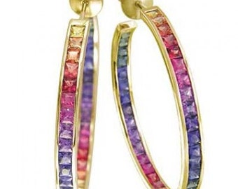 Multicolor Rainbow Sapphire Earrings Channel Set Hoop Huggie 18K Yellow Gold (8.8ct tw) SKU: 1545-18K-Yg