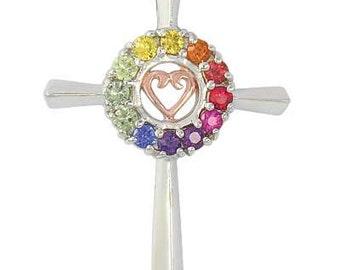 Multicolor Rainbow Sapphire Heart Crucifix Religious Pendant 14K White Gold (0.6ct tw) SKU: 1573-14K-Wg