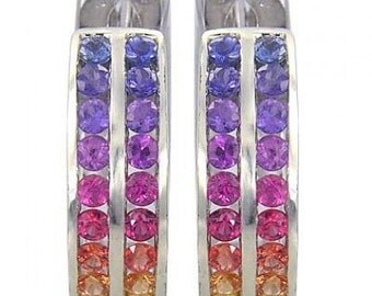 Multicolor Rainbow Sapphire Earrings Double Row Huggie 925 Sterling Silver (5ct tw) SKU: 437-925